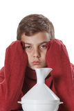 Boy with the sore throat preparing for treatment procedures Royalty Free Stock Image
