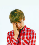 Boy in sorrow. Portrait of boy in sorrow royalty free stock photography