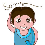 Boy sorry. Illustration boy sorry eraser abstract forgive white background isolated graphic Royalty Free Stock Image