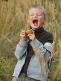 Boy and sour apple Stock Image