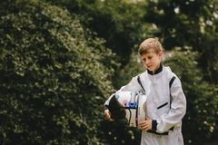Boy in space suit and helmet royalty free stock images