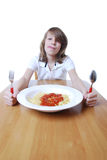 Boy with Spaghetti Stock Photography