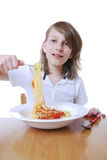 Boy with Spaghetti Royalty Free Stock Photo