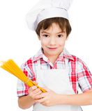 Boy with spaghetti Royalty Free Stock Image
