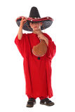 Boy in spanish red shirt and sombrero holding bota bag with wine Stock Photo