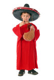 Boy in spanish red shirt and sombrero holding bota bag with wine Stock Photos
