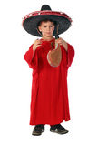 Boy in spanish red shirt and sombrero holding bota bag with wine Royalty Free Stock Photography