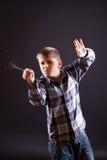 Boy with sparklers Stock Photos