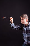 Boy with sparklers Stock Images