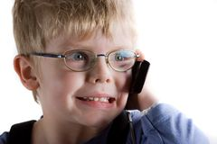 Boy speak on mobile phone. Stock Photo