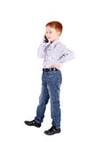 Boy speaking stock image