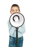 Boy speaking through loudspeaker Royalty Free Stock Photography