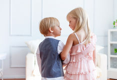 Boy is speaking to girl Stock Photography