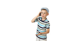 Boy speaks by cell phone Royalty Free Stock Photos