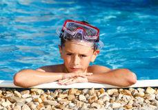 Boy with spectacles in the swimming pool Royalty Free Stock Photo