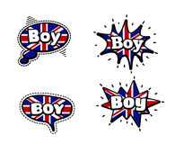 Boy Speech Bubbles. Fashion Patch Badge British Expressions, Boy Speech Bubbles. Set of Boy Stickers, Pins in Cartoon Comic Style stock illustration