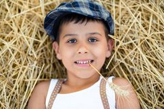 Boy with a spikelet in the teeth lies on the hay. Boy with a spikelet in the teeth lies on the hay Royalty Free Stock Image