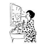 A boy splashing the mirror in the bathroom. Illustration of a boy splashing the mirror in the bathroom while brushing teeth. Black and white illustration. You Royalty Free Stock Image