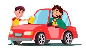 Boy With Sponge Washing The Window Of Car Vector. Isolated Illustration stock illustration