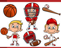 Boy with sport equipment cartoon set Stock Image