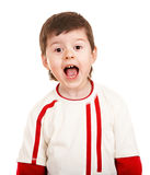 Boy in sport sweater with open mouth. Stock Images