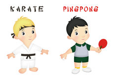 Boy Sports. Boys wearing karate and pingpong outfits Stock Image