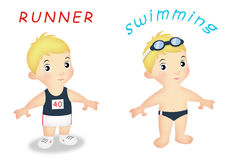 Boy Sports. Boys wearing running and swimming outfits Stock Image