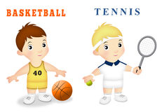 Boy Sports. Boys wearing basketball and tennis outfits Stock Photos