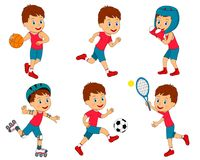 Boy sports activity collection. Kids,boy sports activity collection, illustration,vector Royalty Free Stock Photography