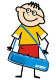 Boy and sports bag, vector funny illustration. Single object. Colored picture. Male with holdall. Smile drawing Royalty Free Stock Photos