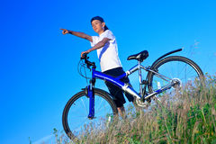 The boy with a sports bicycle Royalty Free Stock Images