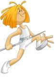 Boy sportsman runner vault character cartoon style  Royalty Free Stock Image
