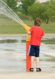 Boy Spraying stock photo