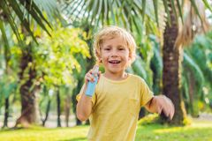 Boy spraying insect repellents on skin. In the park stock image