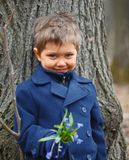 Boy in spring forest Royalty Free Stock Photos