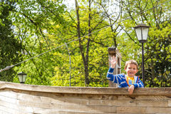 Boy in the spring park, Luxembourg Royalty Free Stock Photos