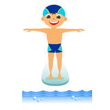 Boy on springboard Royalty Free Stock Photo