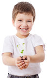 Boy with sprouts in hands Royalty Free Stock Image
