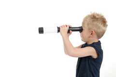 Boy with spyglass Royalty Free Stock Photos