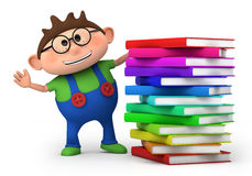 Boy with stack of books royalty free stock images