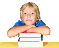 Boy with stack of books Stock Image