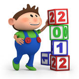 Boy stacking 2012 number blocks. Cute cartoon boy stacking 2012 number blocks - high quality 3d illustration Royalty Free Stock Images