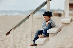 Boy on the stairs Royalty Free Stock Images