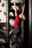 Boy on stairs Royalty Free Stock Photos