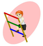 Boy on stairs vector Royalty Free Stock Photo
