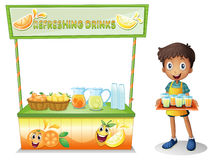 A boy with a stall of refreshing drinks. Illustration of a boy with a stall of refreshing drinks on a white background Royalty Free Stock Image