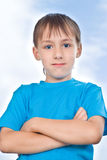 Boy stand against the sky Royalty Free Stock Photography