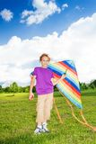 Boy stand with kite royalty free stock images
