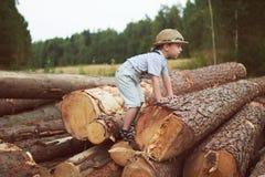 Boy stand near logging. Little boy stand near logging royalty free stock photos