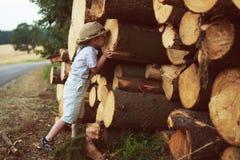 Boy stand near logging. Little boy stand near logging royalty free stock image